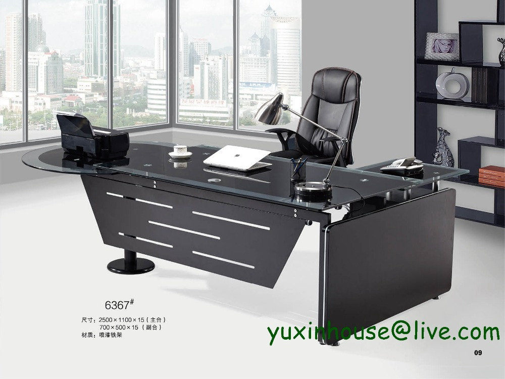 hot sale tempered glass office desk boss desk table