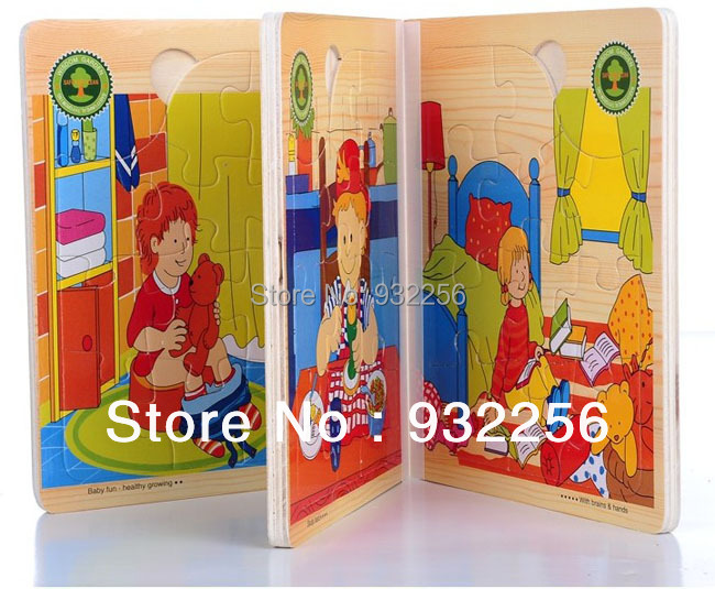 Free Shipping+ DIY Wooden 3D Puzzle Game,Funny Colorful Learning & Education Baby Toys Gift for Children A Day(China (Mainland))