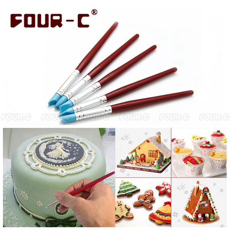 Cake Decorating Painting Icing : 5 pcs Silicone Cake Decorating pan Set Food Paint Icing ...