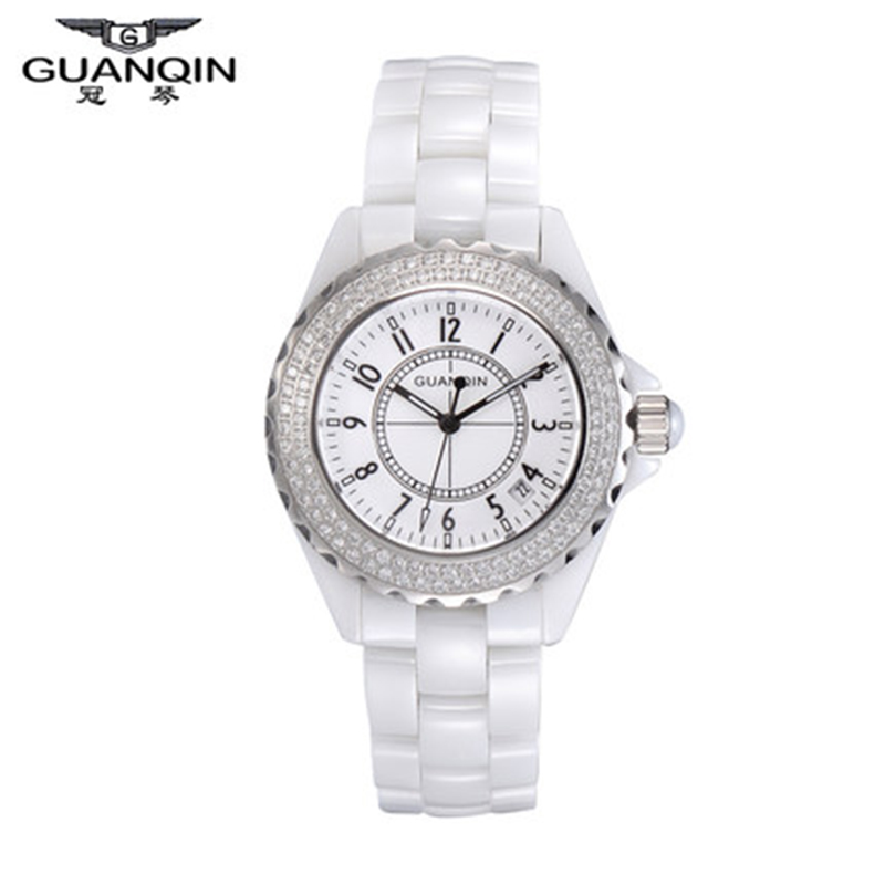 Origianl GUANQIN Top Brand Luxury Quartz Watch Waterproof Dress Lady Watches Relojes Mujer Women White Ceramic