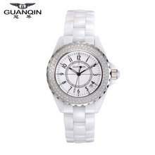 Origianl GUANQIN Top Brand Luxury Quartz Watch Waterproof  Dress Lady Watches Relojes Mujer Women White Ceramic Watches