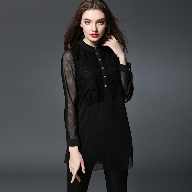 2016 Spring Maternity Blouses Dress 1Piece Long Sleeve Lace Tops for Pregnant Women Plus Size Long Shirt Black Clothes 3XL 4XL<br><br>Aliexpress