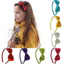 9 Color Cute Fashion Handmade Ribbon Hairbands Sequin Hair Bow For Baby Girls Boutique Hair Accessories
