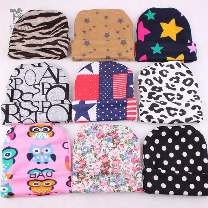 New hot trendy Baby girl boy newborn take home outfit newborn hospital hat infant hat leopard star stripe beenie christmas gift(China (Mainland))