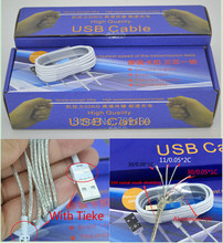 DHL Free Ship 200pcs / Lot 1m / 3FT ONE Piece with Tieke 8Pin Connector USB Data Cable for iPhone 5 6 data sync charge iOS 9(China (Mainland))