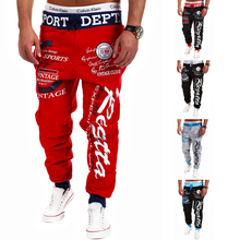 2015 Spring New Men's Brand Casual Letters Loose spell color Printed Lace Trousers Joggers, Men's Outdoor Sports Pants  5 color