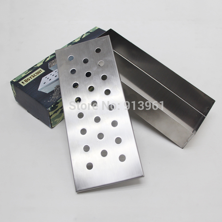 Stainless Steel Sootiness Box Camping Charcoal Grill Picnic BBQ Grill For Barbecue BBQ Grill Smoked Box 24*10*4.5CM(China (Mainland))