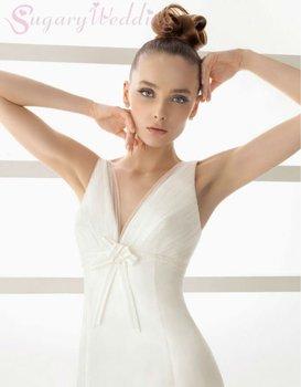 2012 Gorgeous strapless Bridal gown  chiffon Sleeveless wedding dresses embroidery Bodice Bridal Dresses