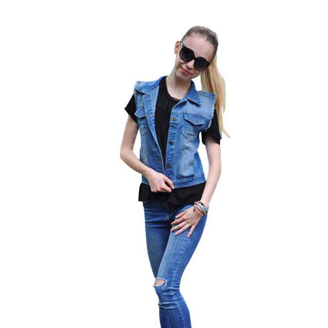 Женская джинсовая жилетка Топ джинсовка джинсовая куртка женская джинсовый жилет ...