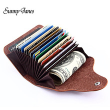Buy 2017 New Genuine Leather Women Men ID Card Holder Bank Card Wallet Purse Credit Card Business Card Holder Protector Organizer for $10.37 in AliExpress store