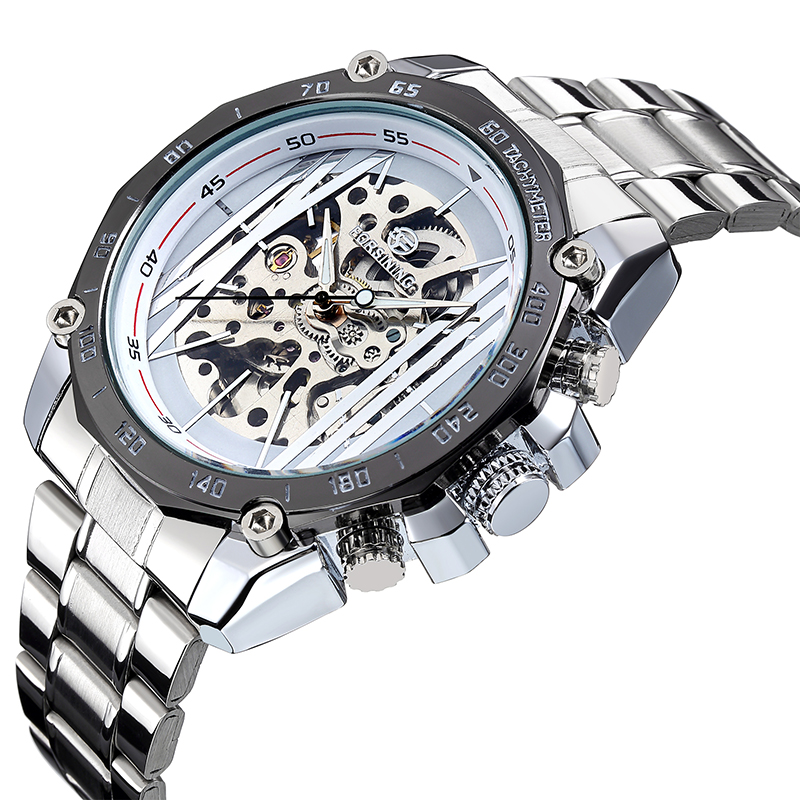 Fashion FORSINING Men Luxury Brand Skeleton Stainless Steel Watch Automatic Mechanical Wristwatch Gift Box Relogio Releges 2016(China (Mainland))