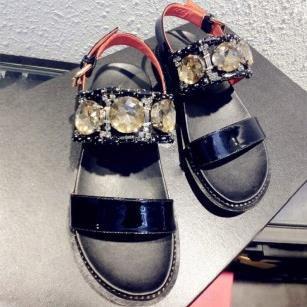 New 2015 Fashion Rhinestone women flat Platform 100% Genuine Leather summer shoes Women's Gladiator Sandals Luxury brand Sandals
