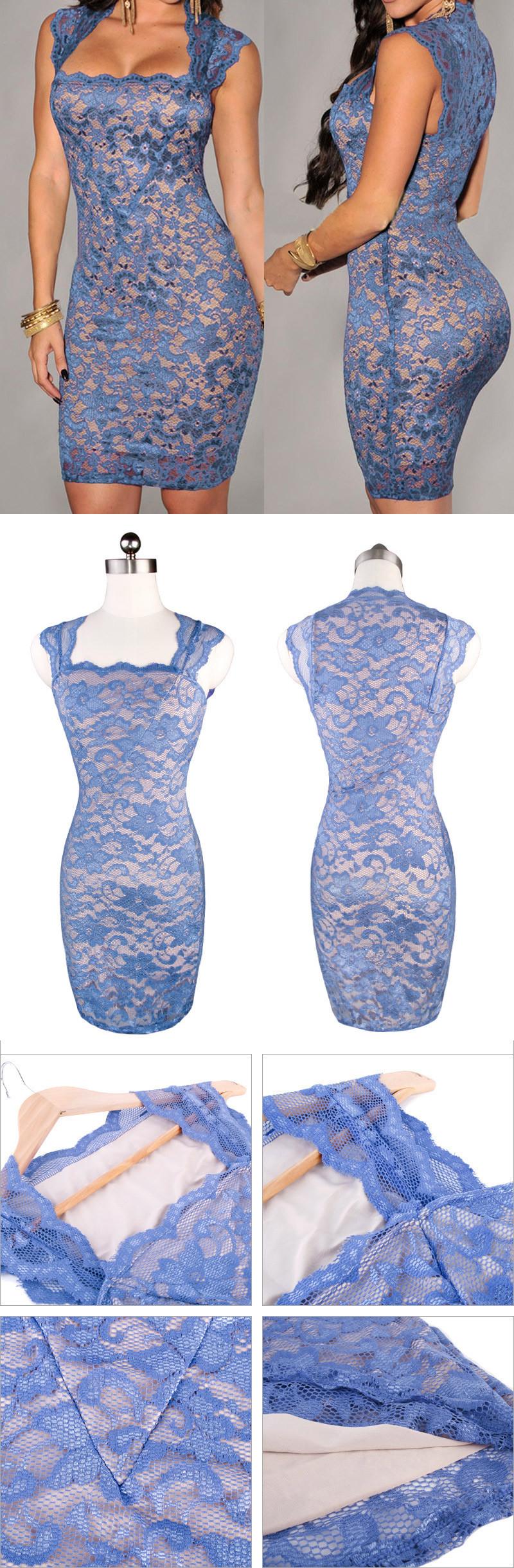 женщины летнее платье для партии короткий синий цветочные сексуальный тонкий кружевной повода плюс размер платья клуб