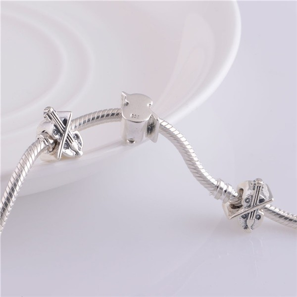 2014 Fashion Delicate Violin Charms 925 Sterling Silver Jewelry Charms 925 Fit European Style Bracelets Necklace (5)