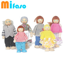 Kids action toy a family of 6 people, rod end puppets, education toy family Dolls wooden human articular joint doll(China (Mainland))
