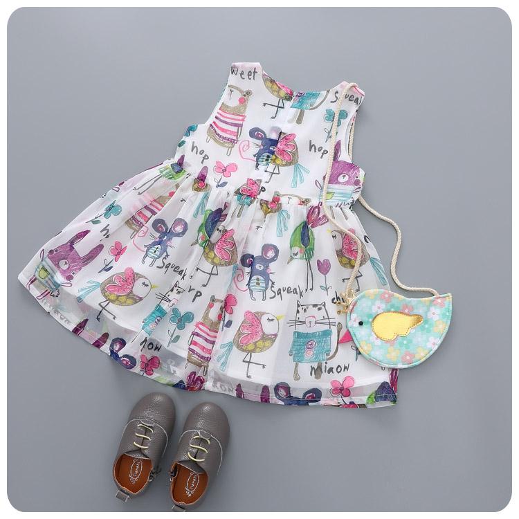 2016 Summer Sleeveless Baby Girl Dress Princess Tutu Cartoon Chiffon Toddler Girls Dresses Pattern Ruffles Ball Gown 2-8T zk0426(China (Mainland))