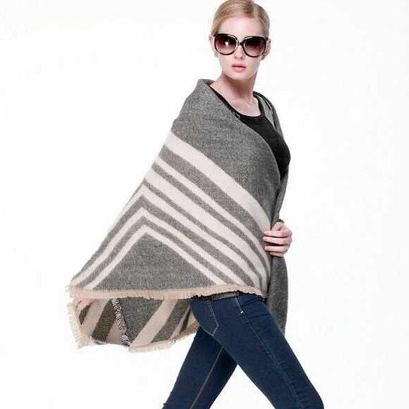 140x130CM Winter Pashmina Blanket Scarf Women Cashmere Shawls and Scarves Z-1802()