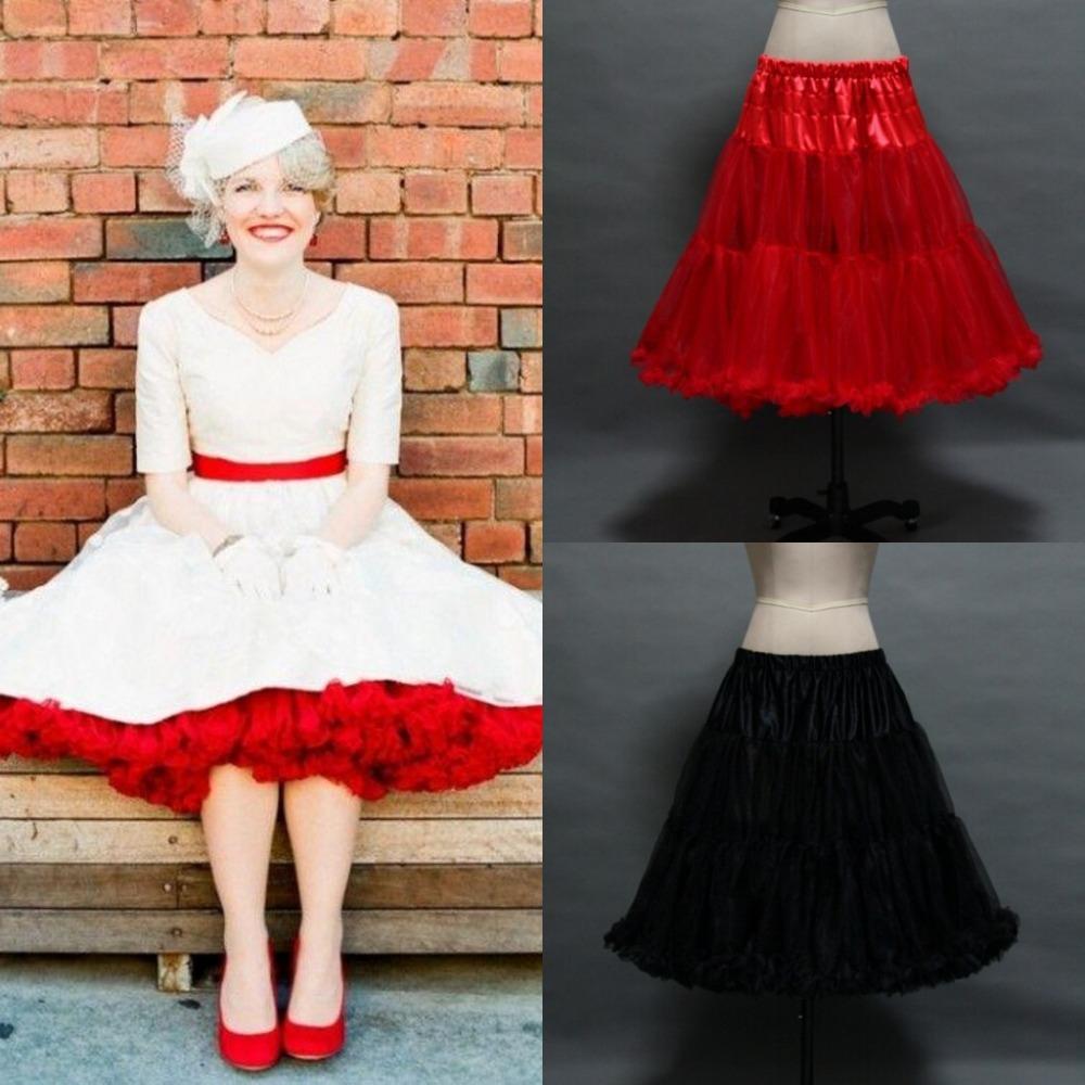 In Stock Ruffled Petticoats Colorful Red White Black Underskirt 1950s Vintage Tulle Under Skirt
