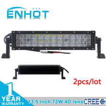 2pcs 4D lens 13.5 inch 72W Cree LED Work Drive Light Lamp Bar spot Beam Offroad Light 12/24V For ATV SUV 4WD 4X4 Boating Hunting(China (Mainland))
