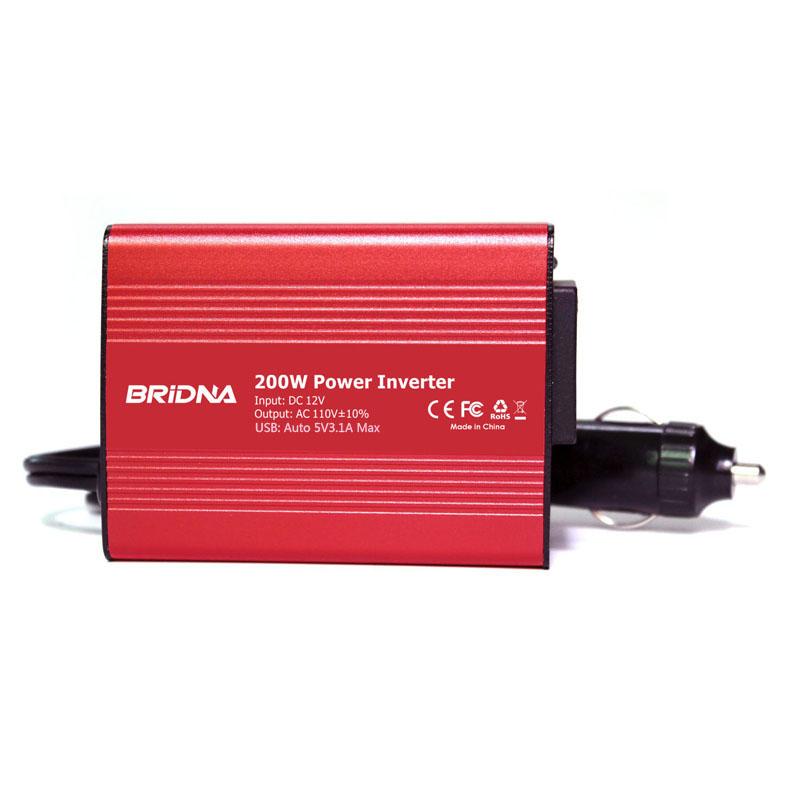BRIDNA 200W Car Inverter DC12V To AC 220V/110v Car Auto Power Inverter Converter With dual USB 3.1A For Moblile Ipad Laptop(China (Mainland))
