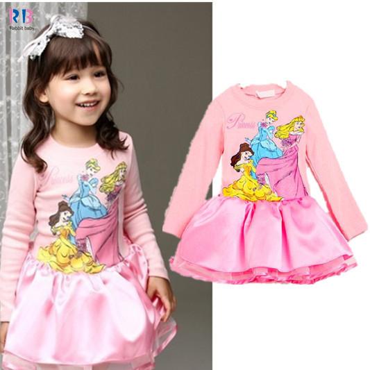 Children's dress 100% cotton White Princess Party Dress girls dresses cartoon tutu dresses Retail Q08235(China (Mainland))