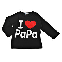 2016 New I Love Papa & Mama, Spring autumn Baby Kids 100% Cotton Shirts T-shirt Boys Girls Long Sleeve Tops Tees Baby Clothing