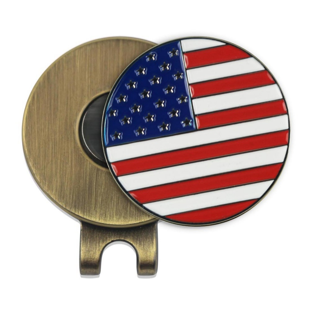 American Flag USA Golf Ball Marker with Antique Brass Blank Golf Hat Clip - Cheap Small Wholesale Lot of 5(China (Mainland))