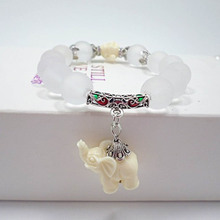 Vintage National Wind Hollow Out Metal Elephant Totem Clear Beads Bracelets Unisex Jewelry Gift(China (Mainland))