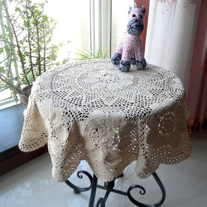 Handmade cotton crochet hook knitted openwork special offer pastoral decorative cloth hook flower lace tablecloth round European(China (Mainland))