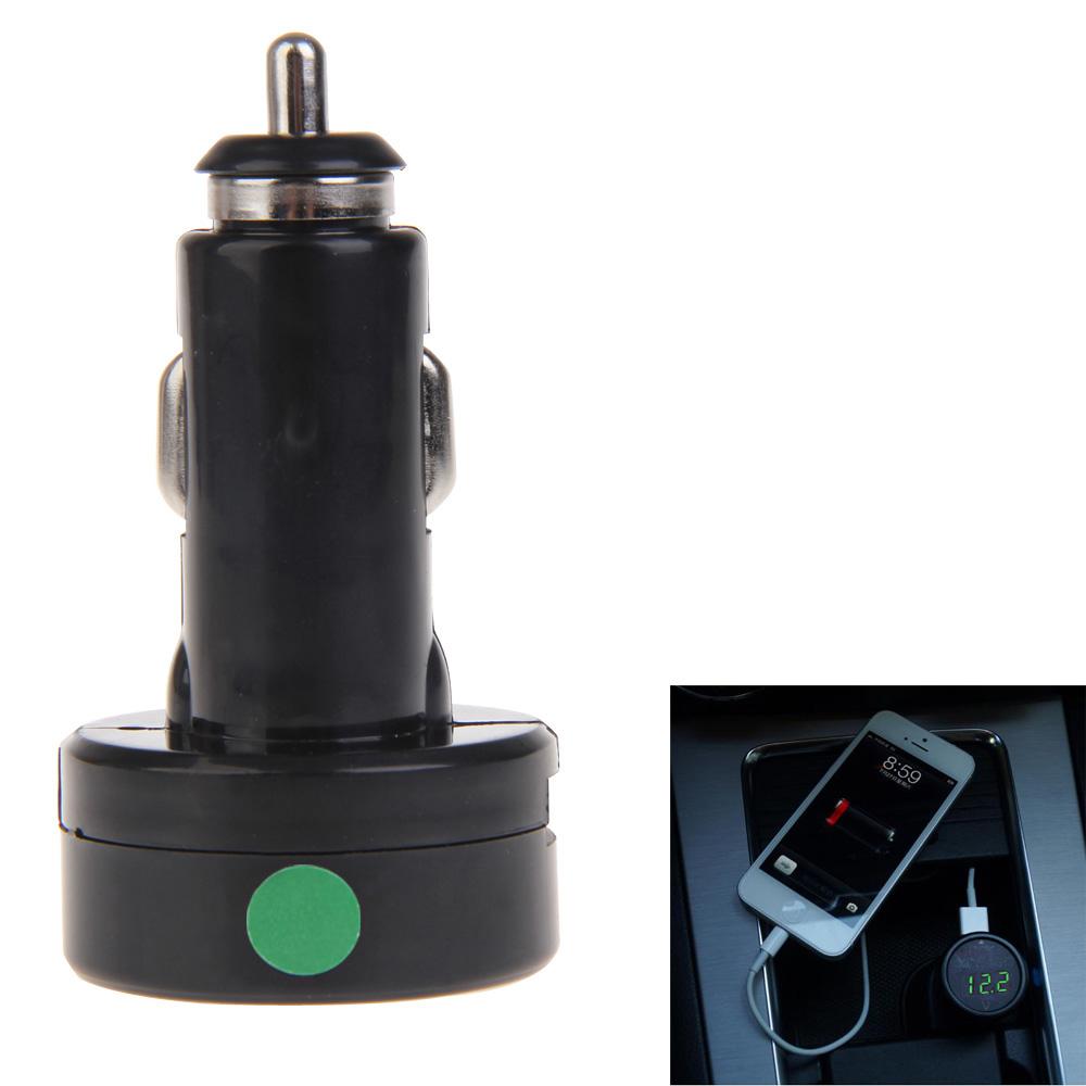 2IN1 USB Car Charger + Voltmeter Monitor DF-01-PV Green Digital Display(China (Mainland))
