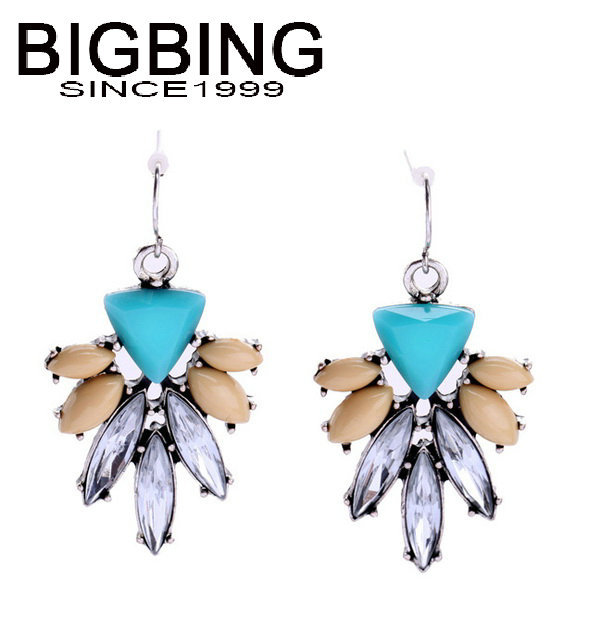 BigBing jewelry fashion Crystal Pendant Earrings flowers Ms. Earrings dangle earring good quality nickel free NA507(China (Mainland))