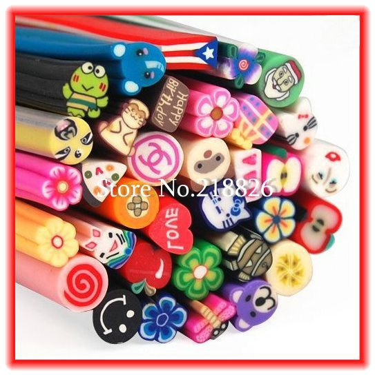 Big Promotion!60 Nail Art 3D Canes Fimo Rods Polymer Clay Tips DIY Decoration