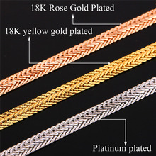 Gold Chain For Men With 18K Stamp Real Gold Plated Necklaces Wholesale 2015 New 6MM 55CM