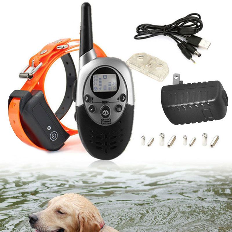 1 PC New 1000 Yards Recharge Waterproof LCD Shock Vibra Remote Pet Dogs Cats Training Collar VEJ10 T66(China (Mainland))