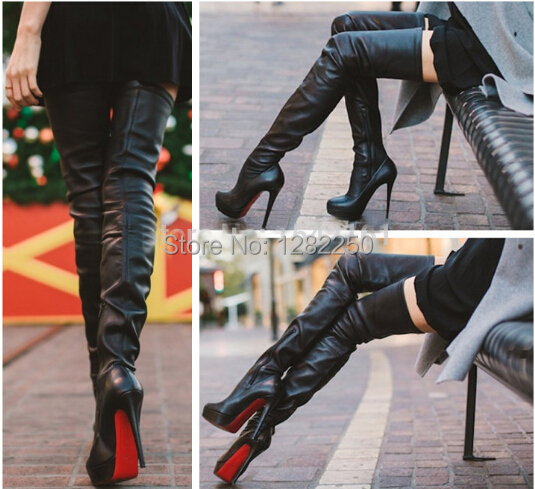 2015 Knee High Genuine Leather Boots Winter Autumn Boots Black Nail Booty Nappa Women Thigh High Boots Motoryclcle Shoes Lady(China (Mainland))