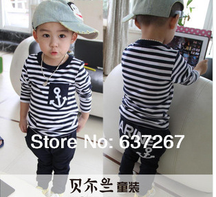 Children's clothing 2013 new summer fashion kids sets boys navy striped t-shirt pants suits - BOBO Co. Ltd store