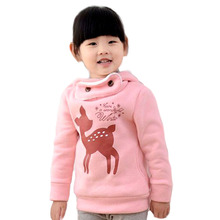 Fashion plus velvet winter children sweater cartoon deer baby girls hoody thicken kids clothes girl hoodies & sweatshirts kids(China (Mainland))