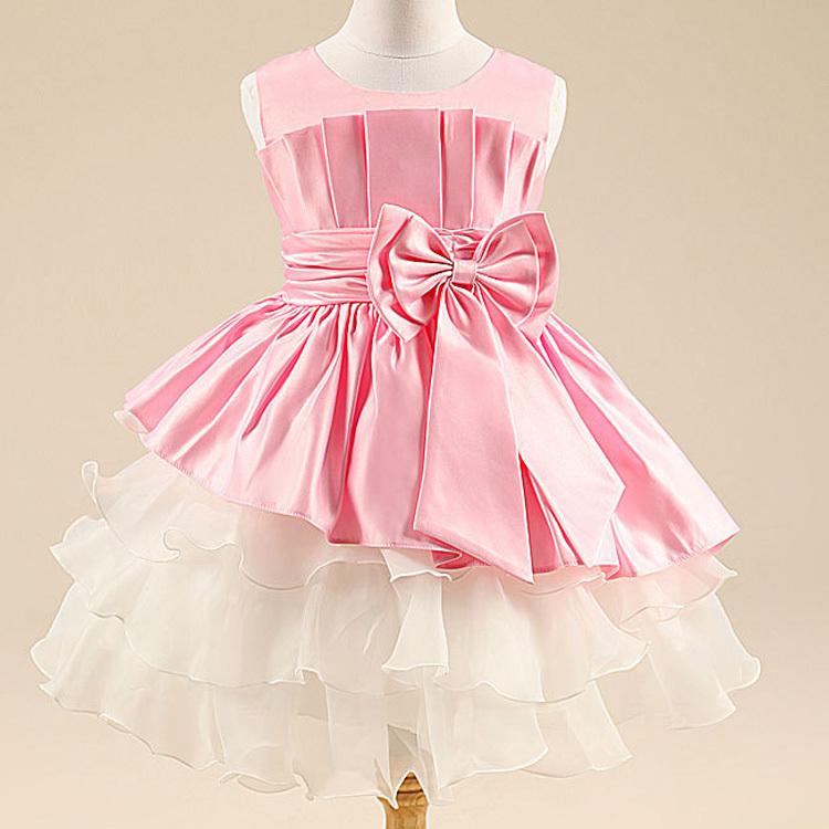 Retail girl dress girl's party High-grade Princess dresses kids chiffon Big bowknot dresse summer childrens clothing dress HA070