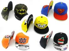 2016 new kids baseball cap adjustable Bones Snapback Hip Hop Fashion Flat Hat boy yellow Minion Snapback Caps cheap wholesale!!!(China (Mainland))