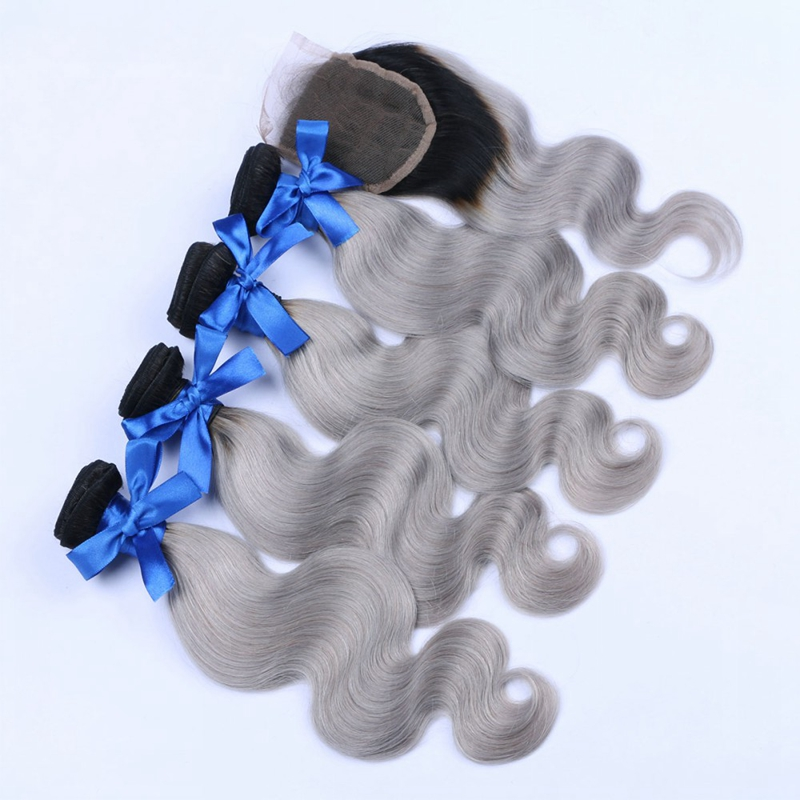 Brazilian Body Wave Virgin Hair Weave With Closure Ombre Brazillian Human Gray Hair Body Wave Extension 4 Bundles With Closure