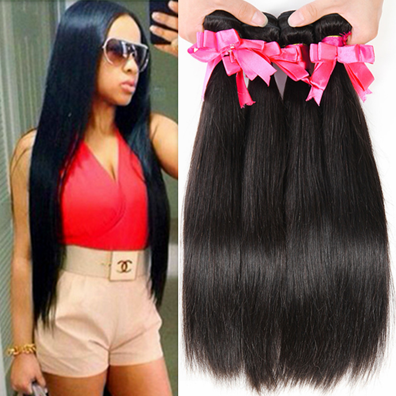 Peruvian Virgin Hair Straight 4Bundles Lot 100% 6A Unprocessed Human Virgin Hair Straight Natural Cheap Human Hair Extensions