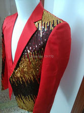 2015 men s Plus size ds dance stage costume for singer male slim paillette suit fashion