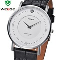 WEIDE Luxury Mens Dress Watches Black Leather Ronda Quartz Movement Sapphire Dial Window Wristwatches Water Resistant WG93001