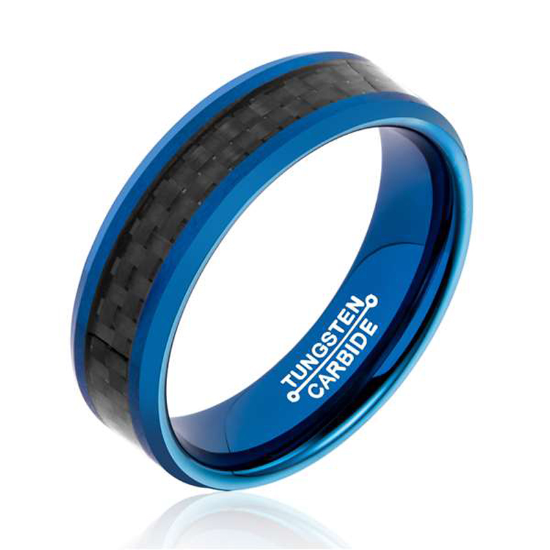 Fashion 6MM Width Tungsten Carbide Rings for Man IP Blue Plating Inlay Black Carbon Fiber Size 7-13(China (Mainland))