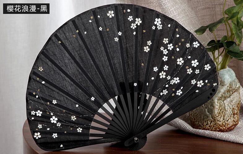 Free shipping Chinese Art fans Japanese style hand fan Cotton Folding Fan 12CM women size bamboo fans black WF-002 Wedding Gift(China (Mainland))