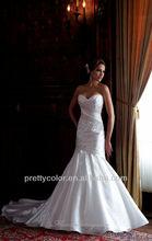 Elegant Popular Sweetheart Neckline Mermaid Applique With Long Train Bridal Dresses And Wedding Dress(China (Mainland))