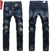 DSQ men famous brand jeans d squared straight jeans Hole ripped jean slim mens pants d2 pantalones vaqueros hombre fashion 2015(China (Mainland))