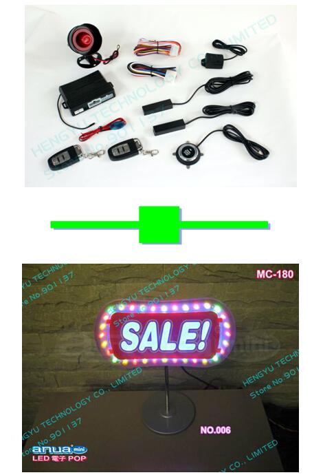 1 pcs push button engine start stop/PKE car alarm FS-58 keyless go + 1 pcs LED indoor advertisement sign board/LED sign MC-180(China (Mainland))