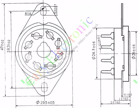 4pcs ceramic tube socket bass tube socket GZC8 Y 7 G 8 pin