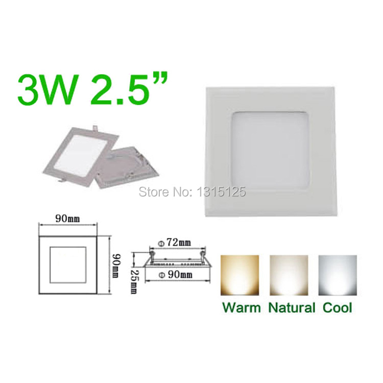 3W LED Square  CREE LED Recessed Ceiling Panel Lights Bulb White Light,Down Lamp for home,warm white/cool white/+Free Shipping<br><br>Aliexpress